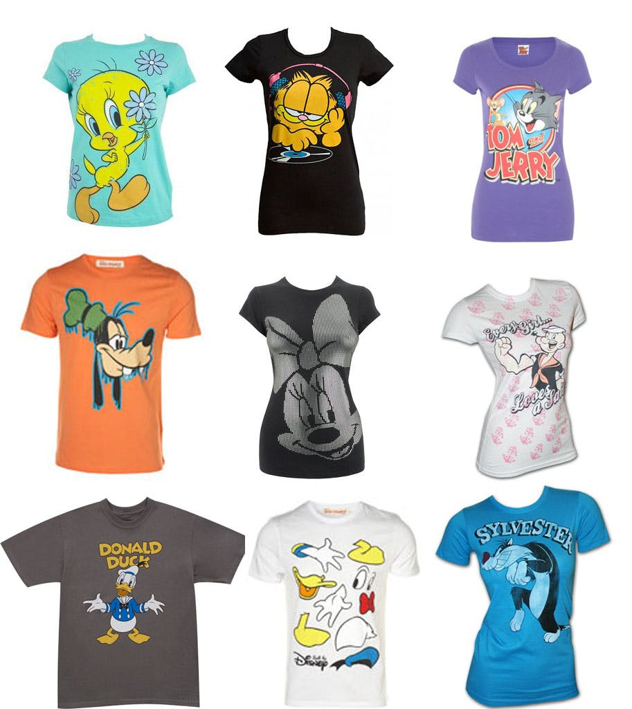 cartoon t-shirts for kinds