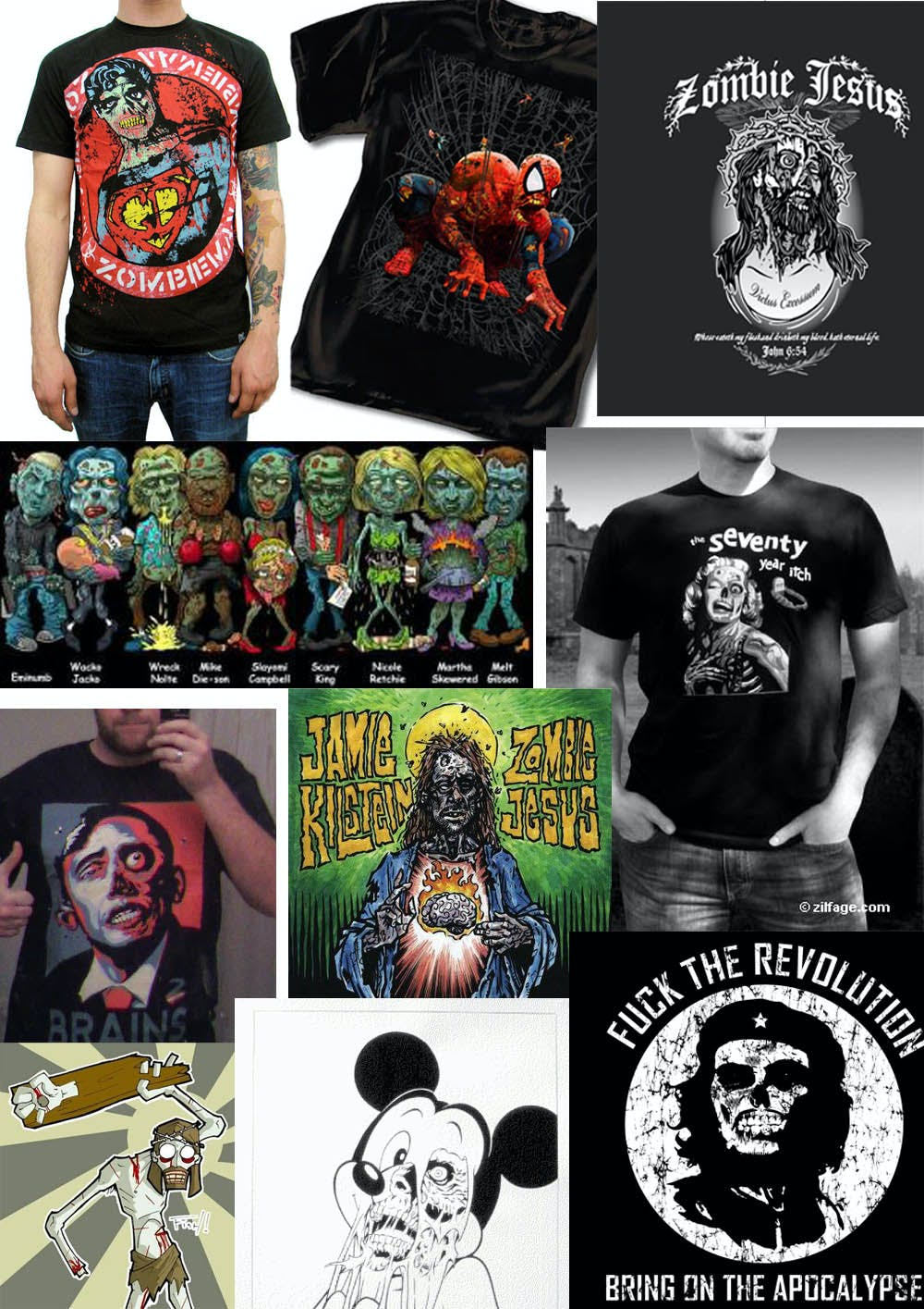 zombie celebrities t-shirts
