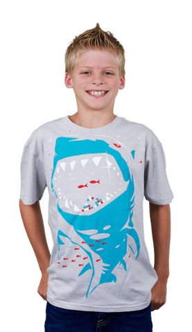 shark with pixelated teeth