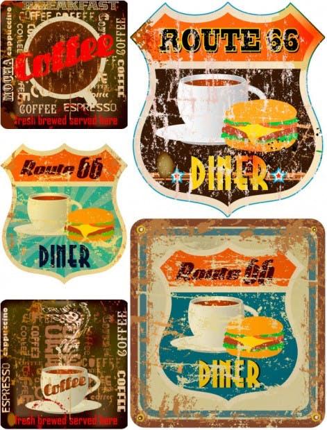 Grunge diner labels vector