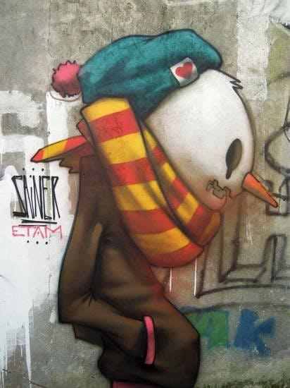 Creepy Snowman Graffiti