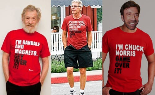 Old people wearing hilarious tees