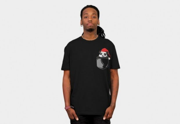 Panda wearing santa hat designbyhumans