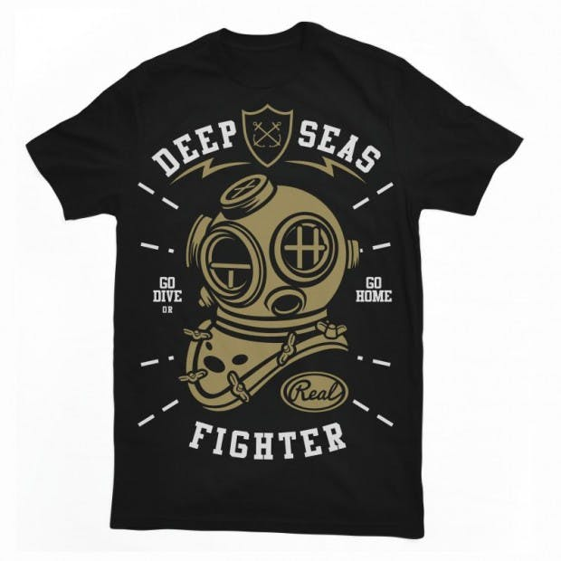 Deep seas fighter t-shirt design