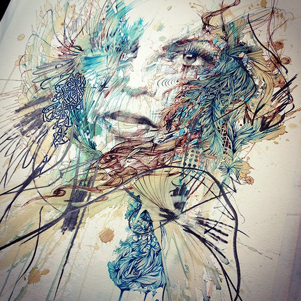 Portraits in ink and tea Carne Griffiths
