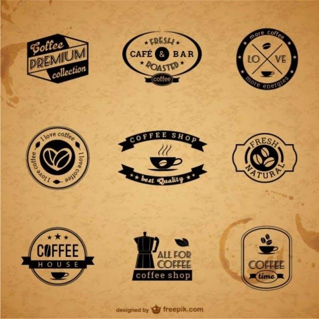 Coffee vectors labels