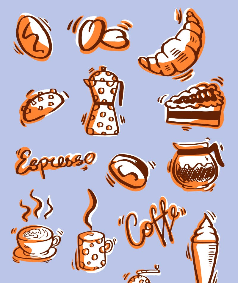 free coffee doodles