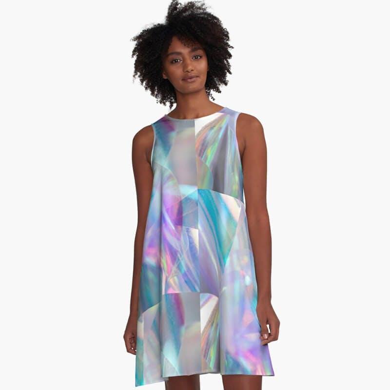 a line holographic dress